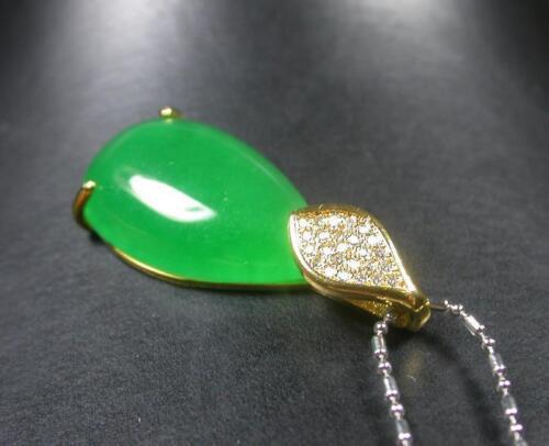 imitation Chaîne 262712 Gold Plate Icy vert jade Pendentif Larme Diamant