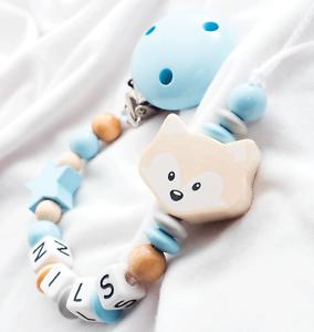 Schnullerkette mit Namen Hände Füßchen babyblau Junge Geburt Geschenk Baby