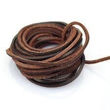 Thin Leather Strap Graft Flat 3mm Cord Braiding Dark Brown (5 Yards)