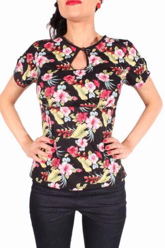Hibiskusblüten Rockabilly Hawaii Blumen Shirt Schlüsselloch Bluse