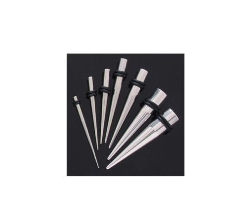 """1 Pr 8g-0g Solid Surgical Steel Stretcher Tapers with Black Orings /""""Choose Size/"""""""