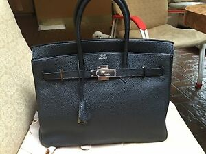 Image is loading Hermes-Birkin-35-Togo-Classic-Black-PHW dc52a0961fb3