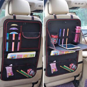 Auto Back Seat Storage Bag Folding Car Seat Organizer Leather Bottle Holder UK