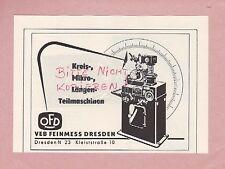 DRESDEN, Werbung 1958, VEB Feinmess Dresden Kreis-Mikro-Längen-Teil-Maschinen