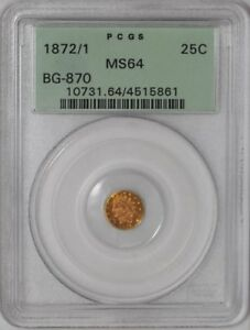 1872-1-California-Fractional-Gold-25c-BG-870-938784-1-MS64-Old-Holder-PCGS