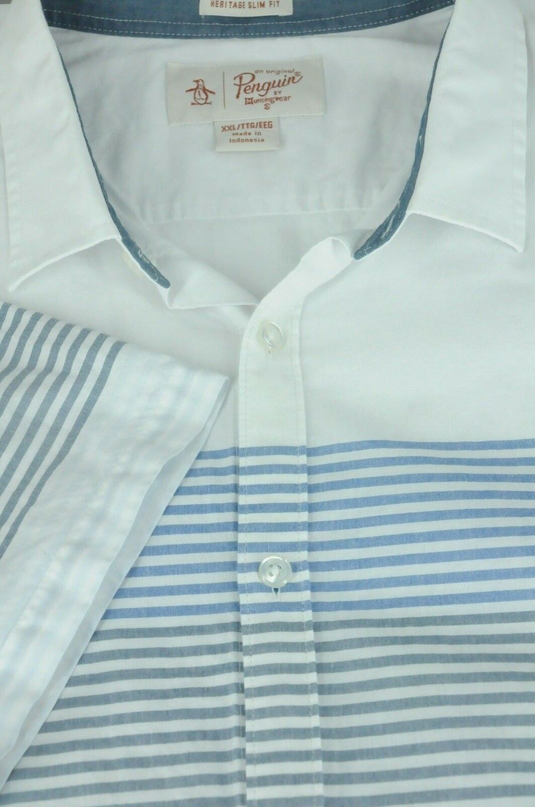 28a8bdb8 Men's White With bluee Striped Slim Fit Casual Shirt XXL 2XL Cotton Penguin  ncifsr2459-Casual Shirts & Tops