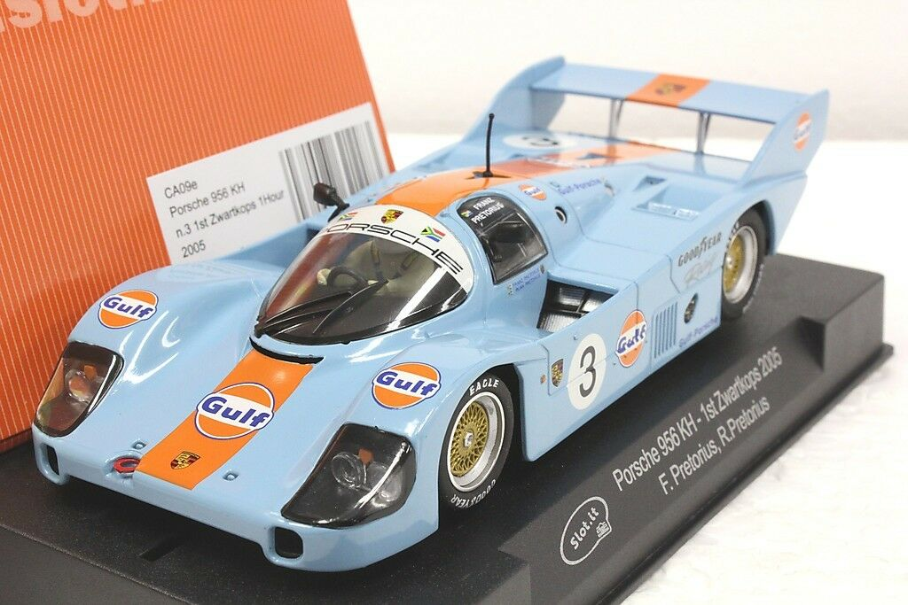 Slot IT SICA 09E Gulf Porsche 956 KH 1st lugar Zwartkops 2005,  3 1 32 ranura de coche