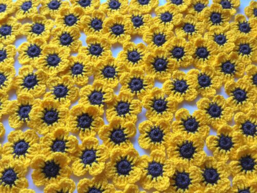 20xNew Lovely Crochet Summer Flowers Applique Embellishment-Sunflowers