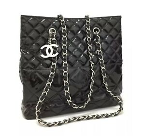 3f30422c70df Image is loading CHANEL-Quilted-In-The-Business-Silver-Hardware-Patent-