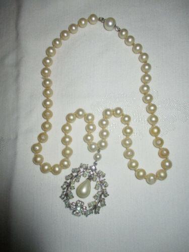 Vintage Signed MARVELLA  Pearl & SilverTone Rhines