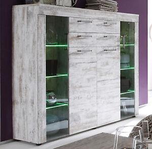 kommode vitrinenschrank wei pinie shabby wohnzimmer m bel schrank river mit led ebay. Black Bedroom Furniture Sets. Home Design Ideas