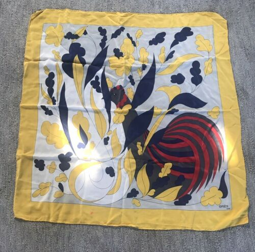 Vintage Madame Gres Paris 100% Silk Scarf Made In