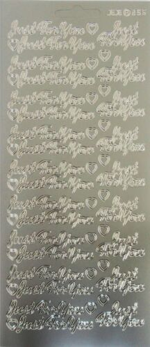 Peel Off Sticker Sheet Just For You /& Hearts Card Making Craft