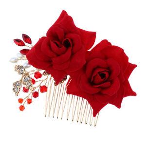 Nuptiale-de-mariage-Rose-Peigne-a-cheveux-Rouge-Cristal-Diamante-Perle