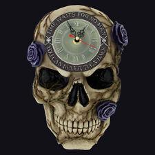 NEMESIS NOW NEVER TURN BACK SKULL CLOCK 27CM. RUNS BACKWARDS. VINES & ROSES.