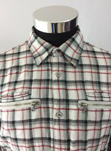 Casual Button-down Shirts Clothing, Shoes & Accessories John Varvatos Gray Plaid Long Sleeve Button Front Casual Shirt Medium M