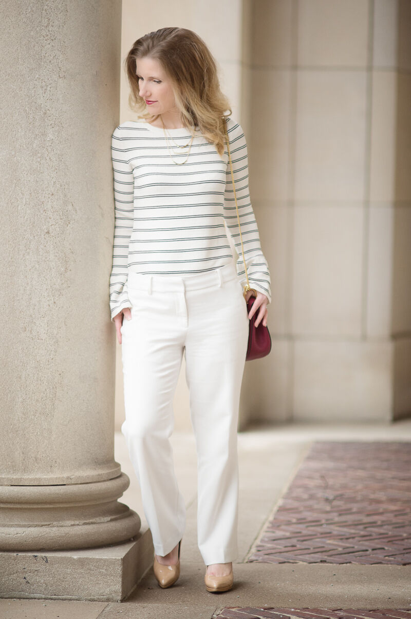 Ann Taylor - XL Winter White Striped Bell Sleeve Sweater (B5)