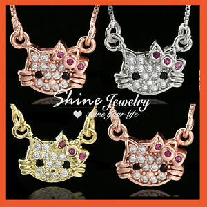 316bef49a 18K GOLD GF CRYSTAL CAT HELLO KITTY LADY KIDS SMALL PENDANT CHAIN ...