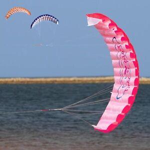 1-4m-Beginner-Power-Dual-Line-Stunt-Parafoil-Parachute-Rainbow-Sports-Beach-Kite