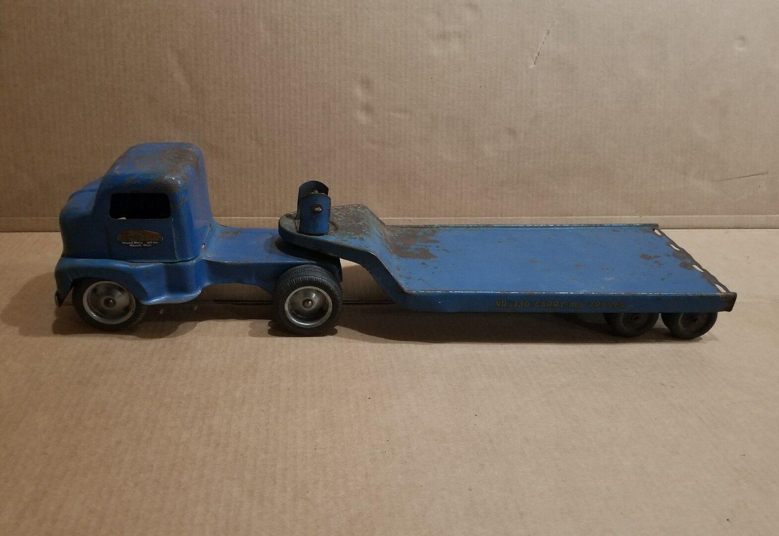 Tonka Nº 130 remolque de tractor llevar-todo 1949-54 blu Lowbody Semi CEO Vintage