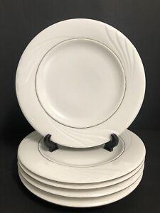 "Gibson Golden Embrace 10 5/8"" Dinner Plate White Embossed Curls Gold Set Of 6"