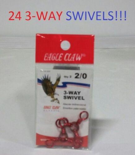 24 Eagle Claw 2//0 Red 3-Way Swivels EB170204 01154-029
