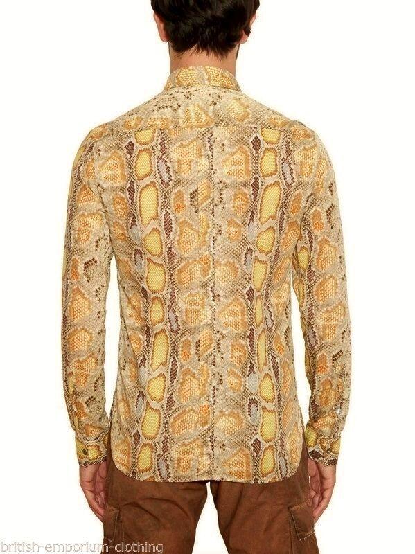 GALLIANO GIALLO PITONE STAMPATO LS LS LS Popeline Camicia in cotone UK38 US38 IT48 Medio NUOVO CON ETICHETTA 752787