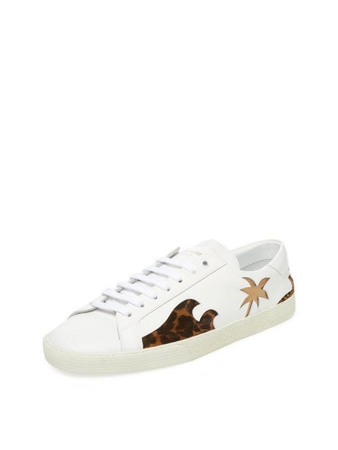 Saint Laurent Paris SL/06 Signature Court Classic Palm White Low-Top Sneakers