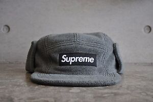 8560dc0add8 Image is loading Supreme-Polartec-Fleece-Earflap-Grey-Box-Logo-Camp-