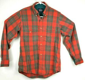 VTG-Woolrich-Wool-Red-Black-Plaid-Flannel-Shirt-Lumberjack-M-Heavy