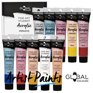 10-Colour-75ml-PAINT-TUBE-SET-Global-Colours-Student-Fine-Art-Acrylic-Impasto