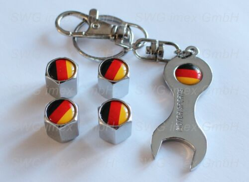 Schlüsselanhänger Ventilkappen Chrom Logo Flagge Deutschland 4x Ventilkappe