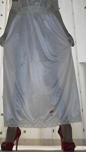 habille-Longueur-Blanc-Soyeux-nylon-JUPON-demi-a-enfiler-sous-jupe-lingerie