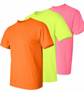Gildan Cotton NEW Safety Yellow Green Orange T-Shirt 2000 S-5XL HIGH VISIBILITY