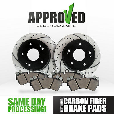 Front Cross Drilled & Slotted Brake Rotors & Carbon Fiber Brake Pads J27242