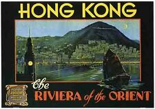 HONG KONG   Vintage Style   Travel Decal Luggage Label Sticker