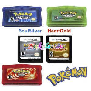 Tarjeta De Juego Pokemon 5 Versiones Para Gba Gbm Sp Nds Heartgold