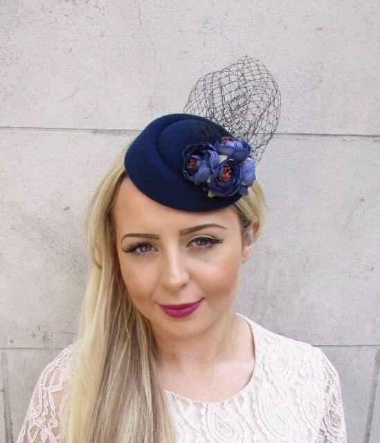 Navy Blue Black Rose Net Flower Pillbox Hat Fascinator Races Hair Clip 3745