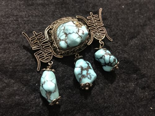 Antique Chinese spiderweb Turquoise  Pin Pendent