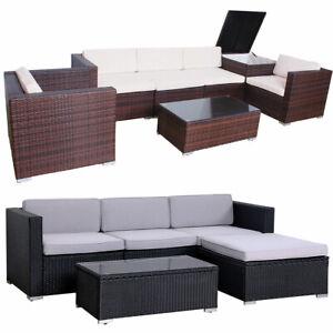 Svita Polyrattan Lounge Gartenmöbel Set Sofa Couch Garnitur Rattan