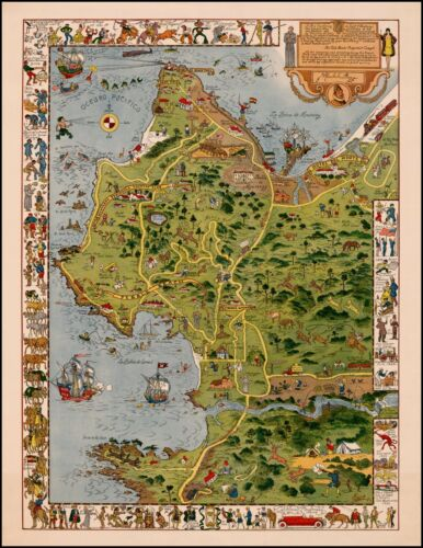 Monterey Peninsula Del Monte Properties pictorial map POSTER Jo Mora 22063