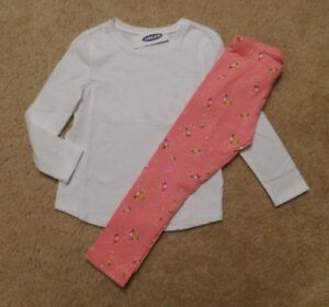 9a3c7a59e0 NWT Girls Old Navy White Top   Pink Floral Leggings Outfit sz 5t
