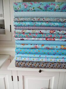 5x stoff blau tupfen streifen stoffe stoffpaket baumwolle patchwork shabby chic ebay. Black Bedroom Furniture Sets. Home Design Ideas