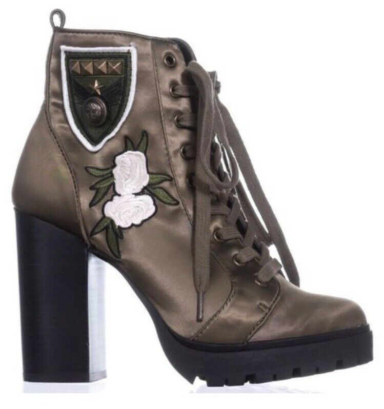 Steve Madden Laurie Olive Green lace up Satin ankle Boot rose detail 7