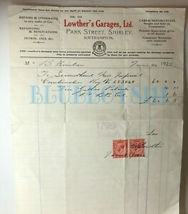 1922-Bill-For-New-Imperial-motorcycle-Petrol-amp-Oil-Lowthers-Garage-Southhampton