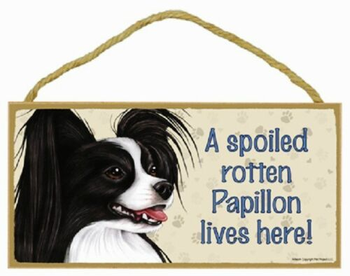 Papillon Wood Dog Sign Wall Plaque 5 x 10 for Dog Lovers Gift House Leash Bone