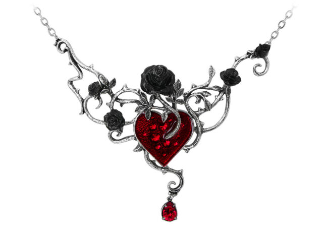 Bed Of Blood Roses Necklace - Alchemy Gothic Heart Jewellery P630