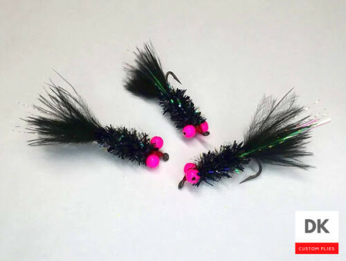 HOTSPOT Bully Bugger Black Fly Fishing Sz 8-3 Flies Woolly Bugger