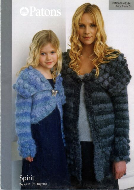 Patons Spirit Knitting Pattern For Long And Cropped Cardigans 3354