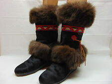 TECNICA GOAT HAIR FUR BOOTS SKANDIA NAVAJO RAINBOW SHOES WINTER MUKLUK 42 / 10